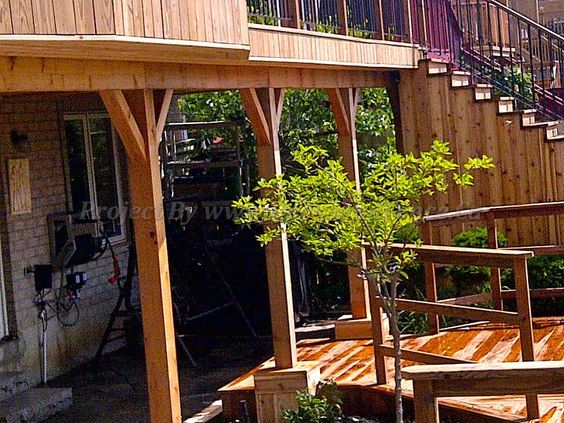 second level supported by a y-shaped column posts #Toronto #Deck design #custom deck #landscaping #patio