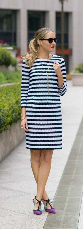navy and white striped dvf crop top and coordinating pencil skirt + colorblock tassel heels in purple, turquoise and navy