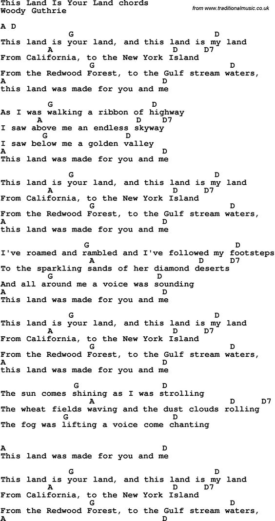 Song Lyrics With Guitar Chords For This Land Is Your Land Guitar