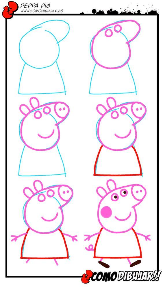 Aprender a dibujar a Peppa Pig http://www.comodibujar.es/tutoriales-dibujo/como-dibujar-a-peppa-pig/