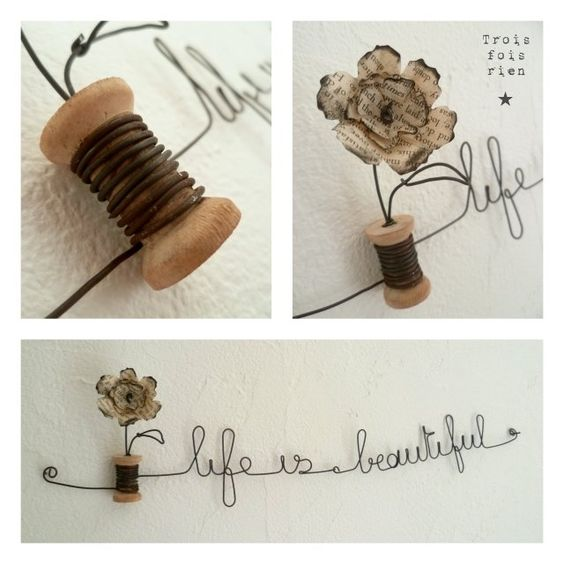 "Guirlande fil de fer ""life is beautiful"".  Wire guirland"