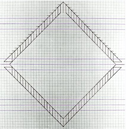 Jo Baer - Graph-paper Painting (Diamond) (from a set of 4) Jo - triangular graph paper