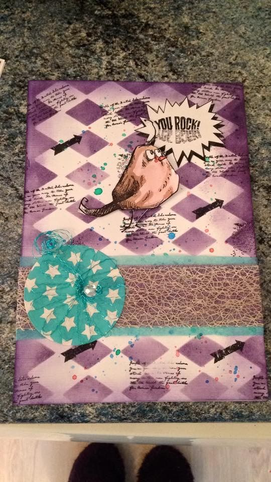 Brusho's, Distress Inks, Harlequin mask, Tim Holtz crazy Bird stamp