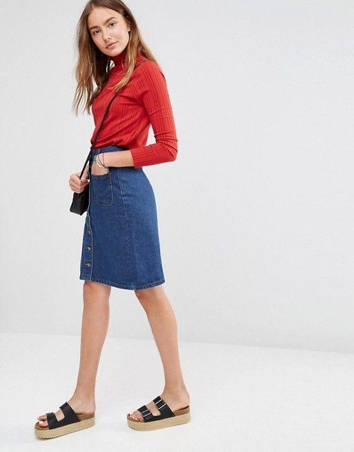Brave Soul   Brave Soul Button Knee Denim Skirt