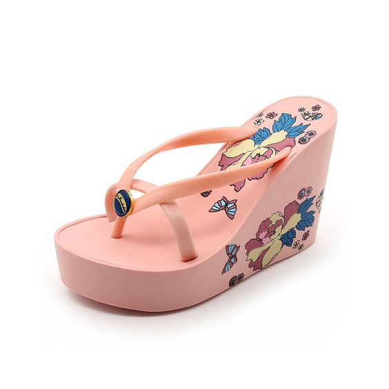 ffb0e29cf335a 2017 Bohemia Style Summer Women Sandals Ultra High Heels Sandals Flower  Fashion Bright Flip Flops Platform
