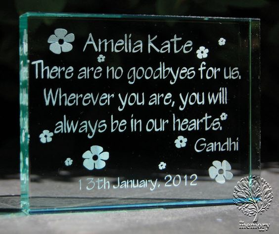 Sandblasted Glass Memory Block. Personalised Baby Memorial Keepsake. www.thememorytree.co.uk