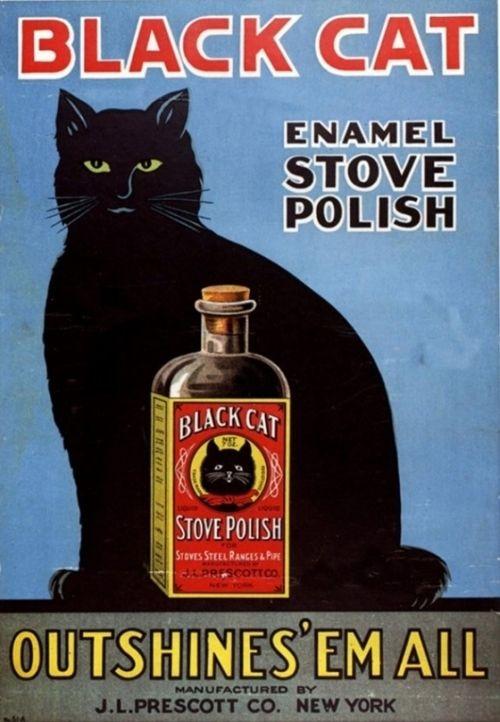 Black Cat Enamel Stove Polish Products, USA (1920):