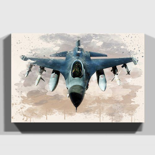 Fighter Jet Military Plane 5 Painting On Canvas East Urban Home Size 50cm H X 76cm W Canvas Painting Canvas Kids Art Wall Frames