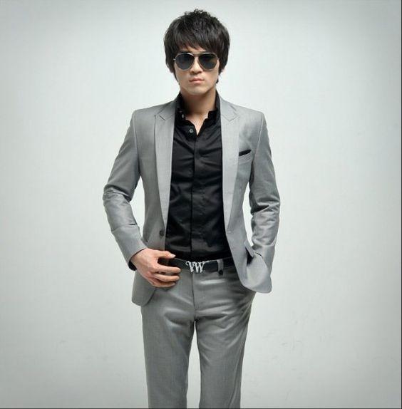grey suit black shirt | Wedding Ideas | Pinterest | Vests