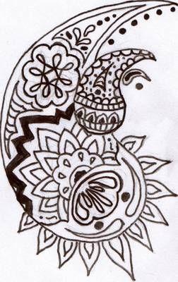 Paisley henna design that looks like koi fish.