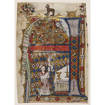"""Illuminated """"A"""" from ca. 1300-1320."""