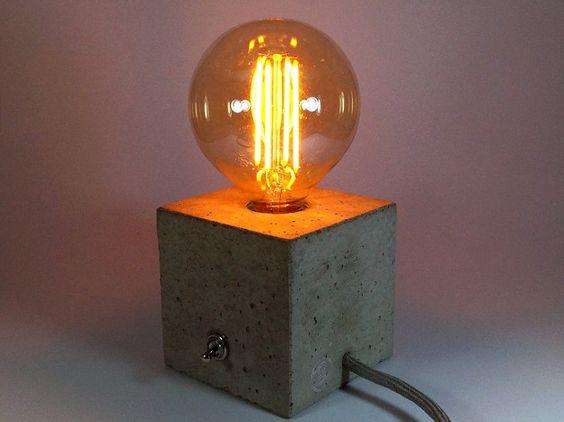 cuboled betonlampe tischlampe betonleuchte kabel. Black Bedroom Furniture Sets. Home Design Ideas