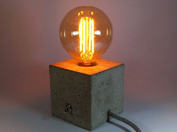 cuboled betonlampe tischlampe betonleuchte kabel industriell und lampen. Black Bedroom Furniture Sets. Home Design Ideas