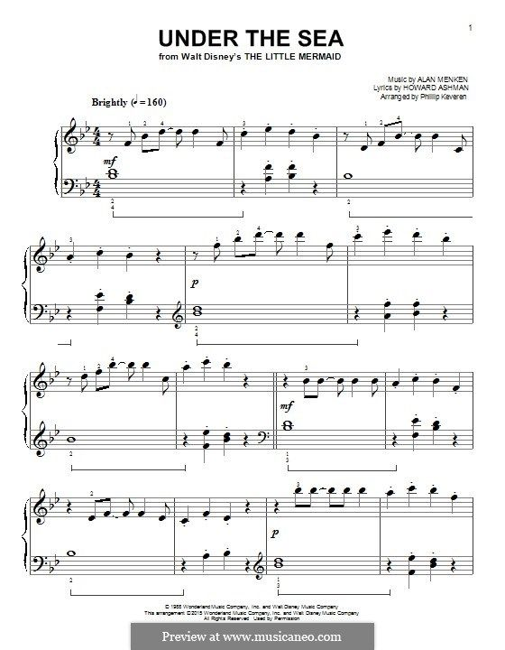 Under The Sea From The Little Mermaid By A Menken On Musicaneo The Little Mermaid Piano Score Lyrics And Chords