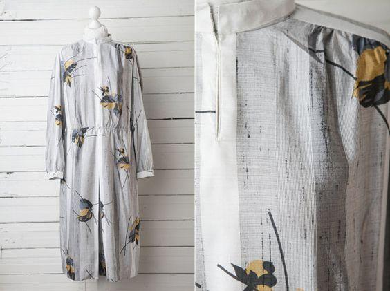 1980s Vintage Grey Floral Secretary Midi Dress / by CoverVintage, $29.00