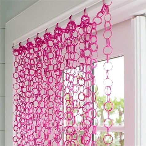 Hot Pink Bamboo Rings Curtain 82 Inches Long Beaded Curtains