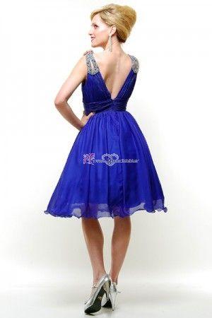 Prinzessin Knie Lang Königlich Blau mit Träger Tief V-Ausschnitt Brautjungfer Kleid Ballkleid Cocktailkleid - Brautkleider