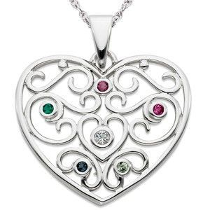 Sterling silver filigree heart necklace with Mom's or Grandma's birthstone and up to 5 children's birthstones.