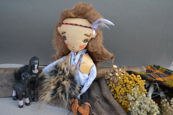 Cloth doll  Handmade doll  Embroidered face  Textile by KukloFerma