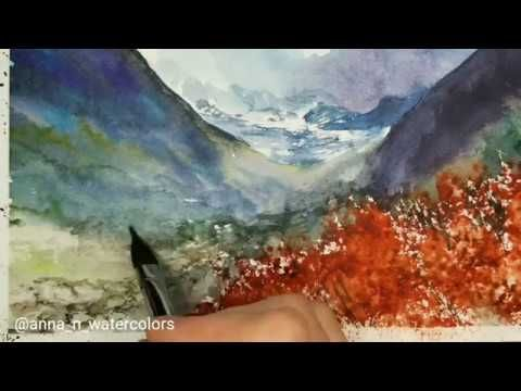 Mountains View Wildflowers Watercolor Painting Youtube Watercolor Paintings Landscape Photography Painting