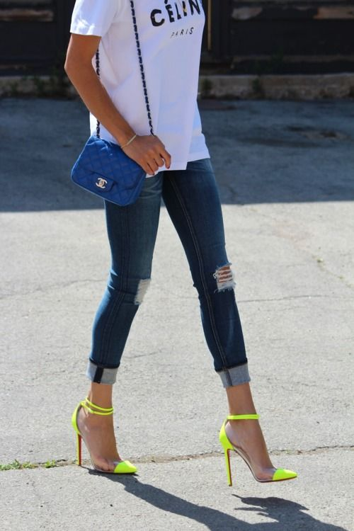 ripped denim and neon
