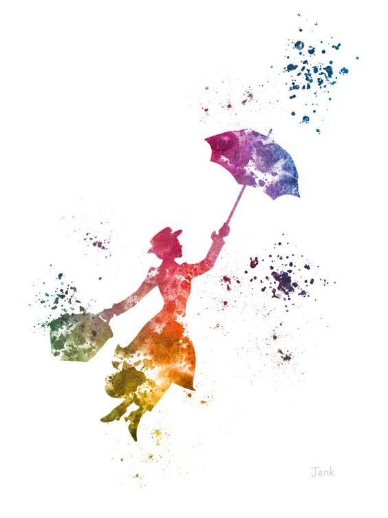 Mary Poppins ART PRINT illustration Disney Mixed by SubjectArt
