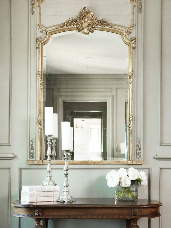 Beautiful Bedroom With French Gray Green Paneled Walls A French Antique Mirror Is Set Inside