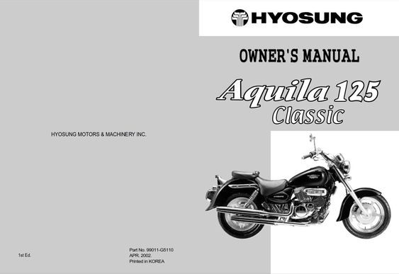 Hyosung Aquila 125 2002 Owner S Manual Has Been Published On Procarmanuals Com Https Procarmanuals Com Hyosung Aquila 125 2002 O Manual Owners Manuals Owners