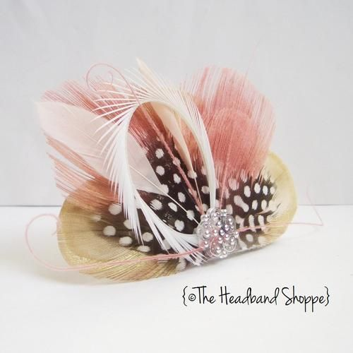 Antique Pink Peacock Clip - ATLANTIS - Cream and Dusty Rose Peacock Feather Hairclip or Veil Fascinator | HeadbandShoppe