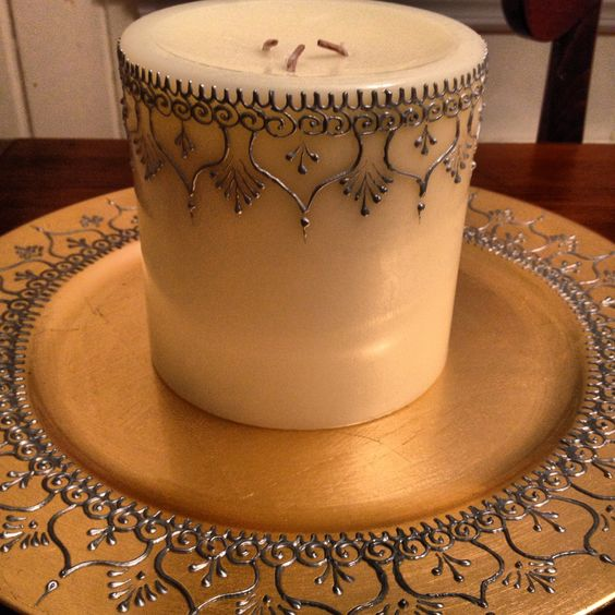 Diy Mehndi Plates : Large candles charger plates and henna on pinterest