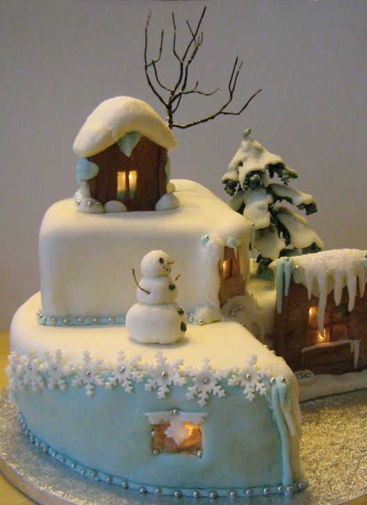 adorable gingerbread house- cake. Tree is cute, snowman is cute. Fondant snowflakes are cute.