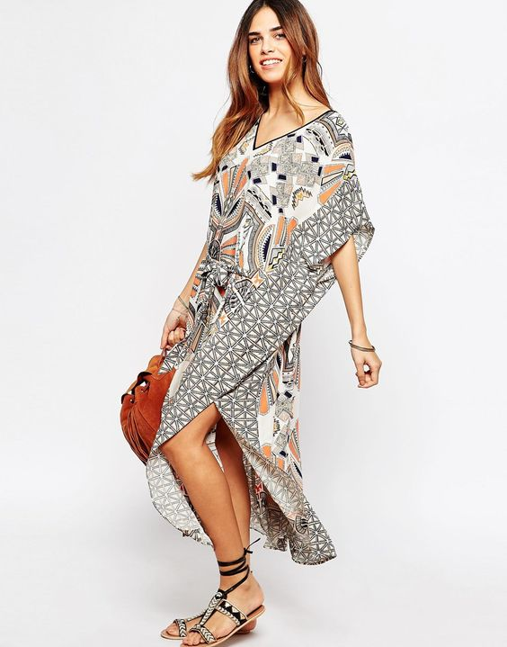 Image 2 - Warehouse - Maxi robe caftan style tribal