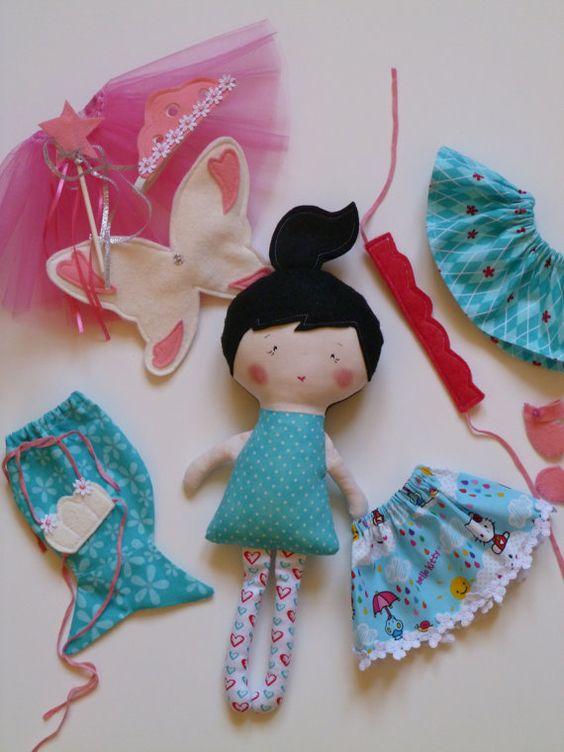 Small cloth doll play set