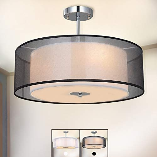 Ceiling Light Spakrsor Modern Fabric Pendant Light Shade Large Black Drum Lampshade 2 Tiers Round Pendant Pendant Light Shades Ceiling Lights Drum Lampshade