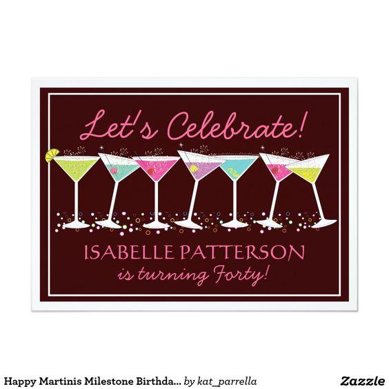 "happy martinis milestone birthday party invitation "" x, invitation samples"