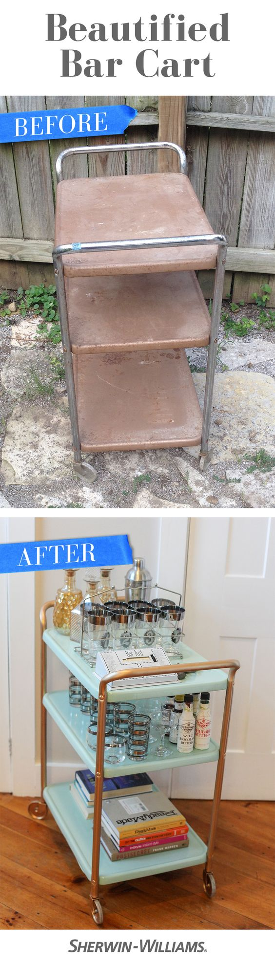 An old, dirty bar cart gets a fresh, clean start with a coat of paint in Aloe (SW 6464) and a touch of Krylon Spray Paint in Gold.