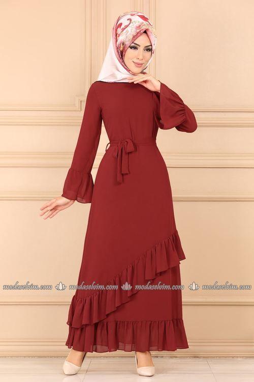 Modaselvim Elbise Firfir Detay Kemerli Elbise 5020ef311 Kiremit Elbise Kiyafet Islami Giyim