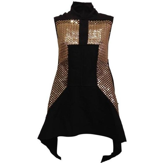 Preowned Rick Owens Black Wool Top With Gold Sequins (€1.520) ❤ liked on Polyvore featuring tops, black, gold sequin vest, rick owens, vest top, rick owens top and wool vest