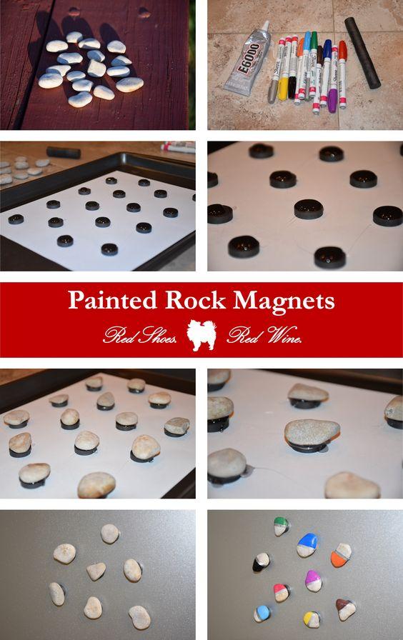 New blog post! DIY Painted Rock Magnets (http://redshoesredwine.com/?p=1070) crafts, DIY, e6000, magnet, paint, pebble, pinspired, pinterest, rock crafts, rocks, sharpie, souvenir, vacation, wine