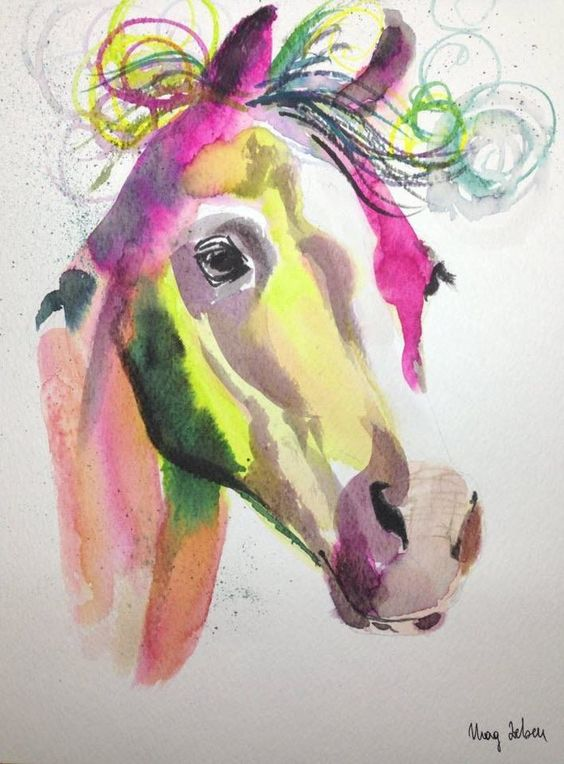 Watercolour Painting Christmas Gift Abstract Horse Original Art A4 MAG ZEBEN30 http://stores.ebay.co.uk/magzeben/