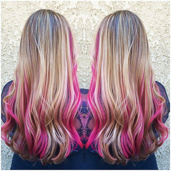 Streaked Blonde With Pink Underneath Hair Colors Ideas In 2020 Pink Hair Streaks Hair Color Pink Pink Underneath Hair