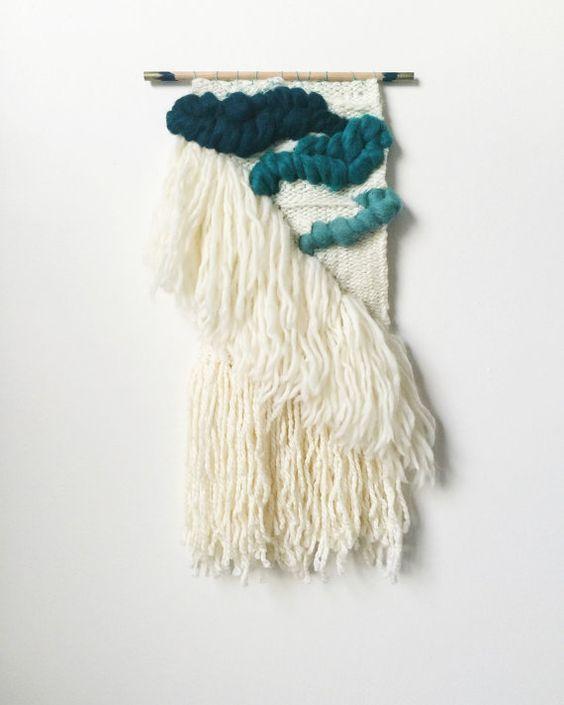 Tissés à la main Wall Art Ombré Turquoise