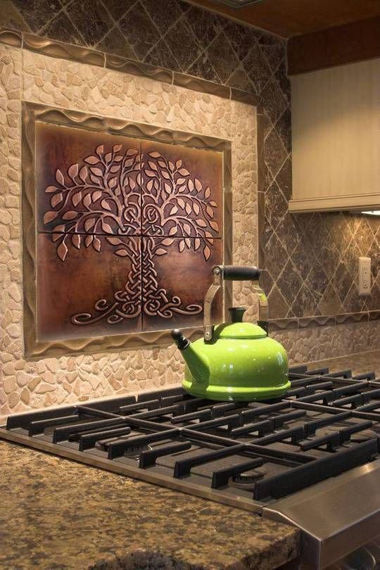 Tree Of Life Kitchen Backsplash Metal Tiles Set Of 9 Copper Decor Kitchen Backsplash Metal Tiles Metal Tile