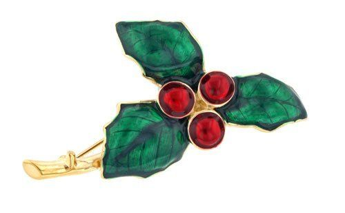 Hand enameled holly and berries brooch or pin Daralis. $34.99. Beautiful brooch. Hand enameled