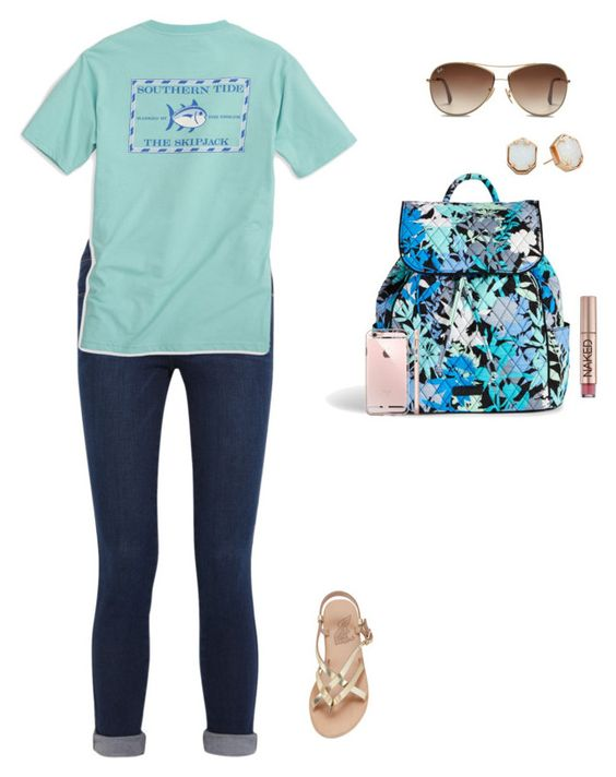 """""""moose or swan?"""" by jackelinhernandez ❤ liked on Polyvore featuring Frame Denim, Southern Tide, Ray-Ban, Vera Bradley, Kendra Scott, Ancient Greek Sandals and Urban Decay"""