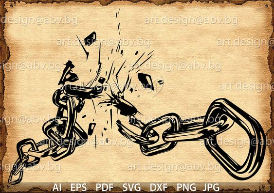 Vector Broken Chains Ai Eps Svg Dxf Pdf Png Jpg Etsy Chain Tattoo Urban Tattoos Broken Chain