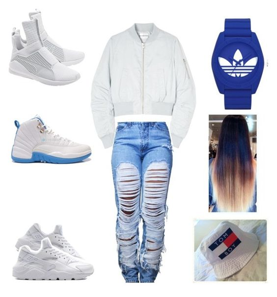 """going to sis bday"" by aleisharodriguez ❤ liked on Polyvore featuring Won Hundred, Retrò, Puma and adidas"