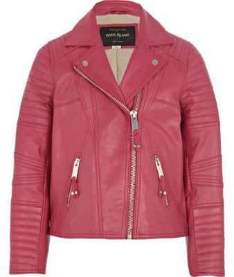 River Island Girls pink leather jacket on shopstyle.co.uk | kids ...
