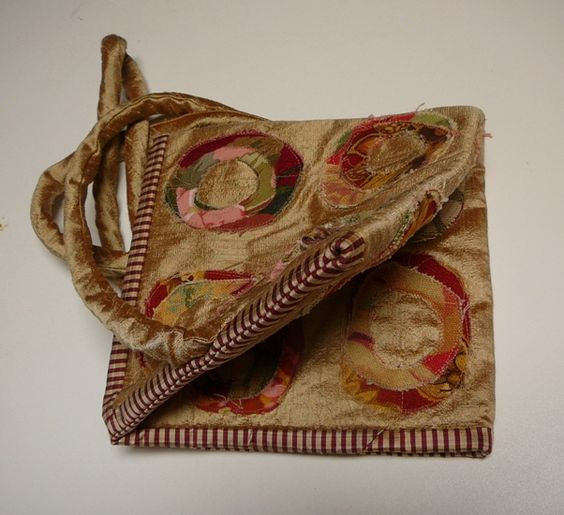 Origami Square on Point purse. Pattern by Nancy Schriber. Gold dupioni silk embellished with stitched home dec circles.