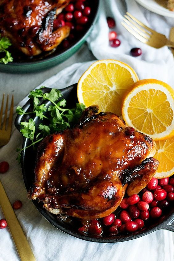This Cranberry Orange Glazed Cornish Hen recipe is perfect for holiday family dinners.